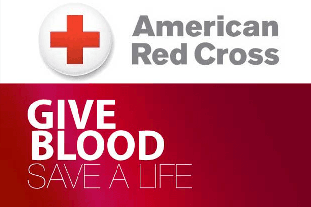 This is a Red Cross Logo that says 'give blood'