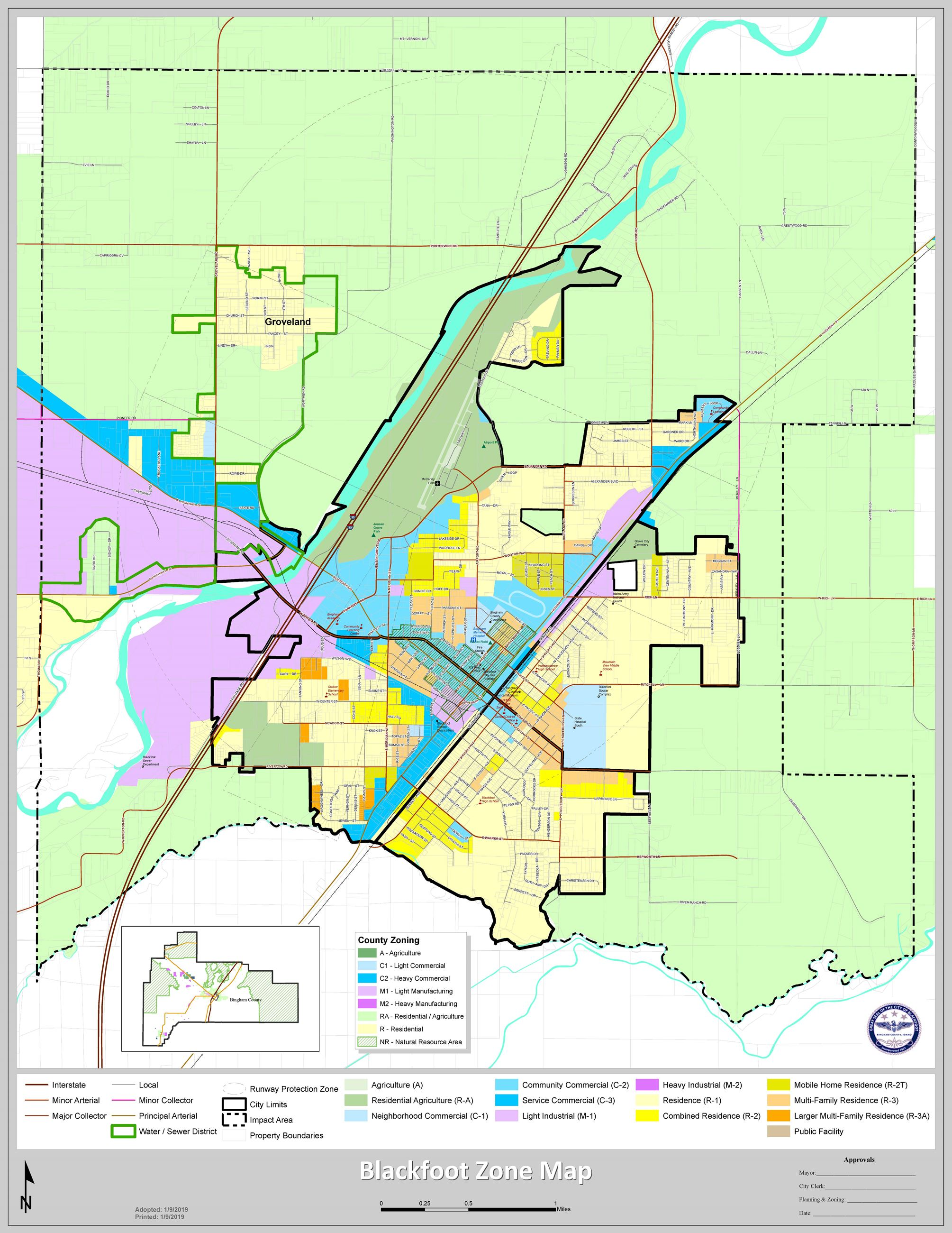 This is an image of the Zone Map for the City of Blackfoot.