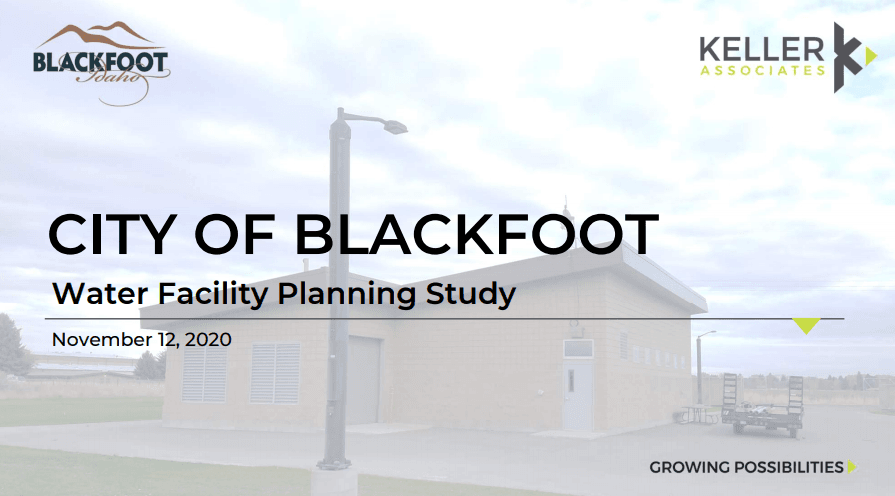 Picture of a City of Blackfoot Pump House with Graphics for the Water Study